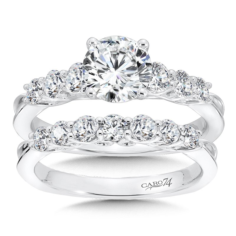 Caro74 Engagement Ring With Side Stones in 14K White Gold with Platinum Head (1ct. tw.)