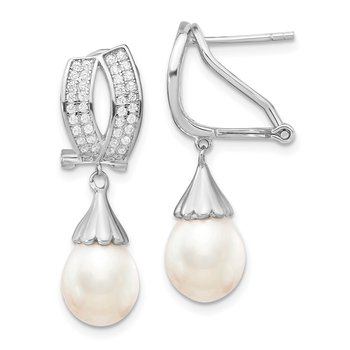 Sterling Silver Rhodium-plated 8-9mm Rice FWC Pearl CZ Omega Back Earrings