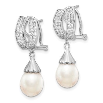 Sterling Silver RH 8-9mm Rice FWC Pearl CZ Omega Back Earrings