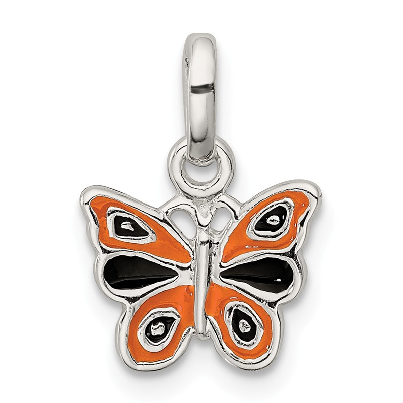 Sterling Silver Jewelry Pendants /& Charms Solid RH Childs Polished Butterfly Pendant