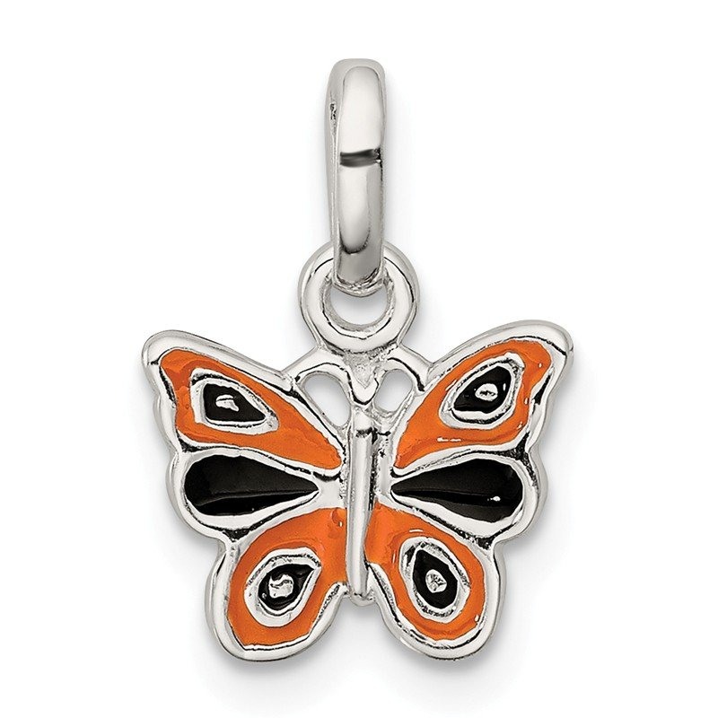 Quality Gold Sterling Silver Enamel Kid's Butterfly Pendant