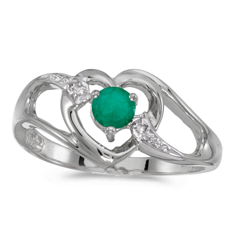 Color Merchants 10k White Gold Round Emerald And Diamond Heart Ring