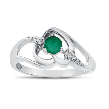 10k White Gold Round Emerald And Diamond Heart Ring