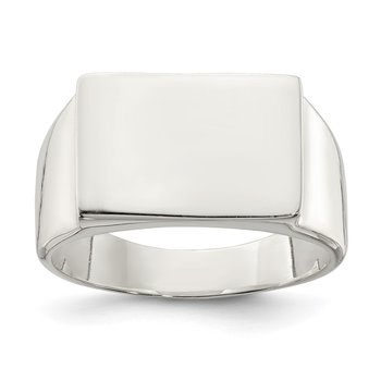 Sterling Silver 11x15mm Closed Back Signet Ring