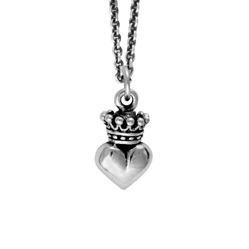 King Baby Micro Crowned Heart Pendant On Micro Rolo Chain