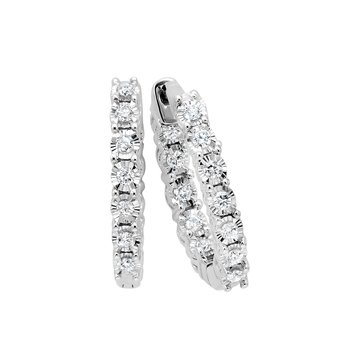 Diamond Starburst Inside Out Round Hoop Earrings in 14k White Gold (½ ctw)