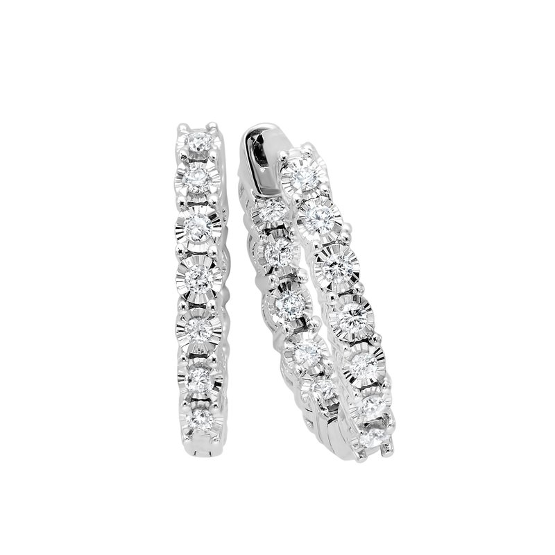 Gems One Diamond Starburst Inside Out Round Hoop Earrings in 14k White Gold (½ ctw)