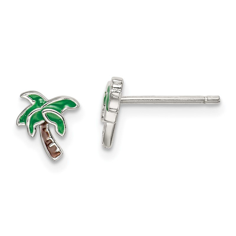 Quality Gold Sterling Silver Enameled Palm Tree Post Earrings