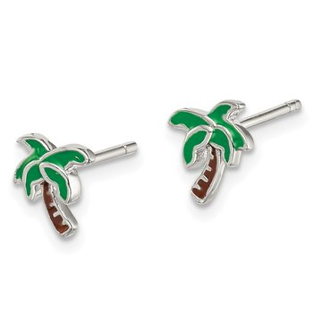 Sterling Silver Enameled Palm Tree Post Earrings