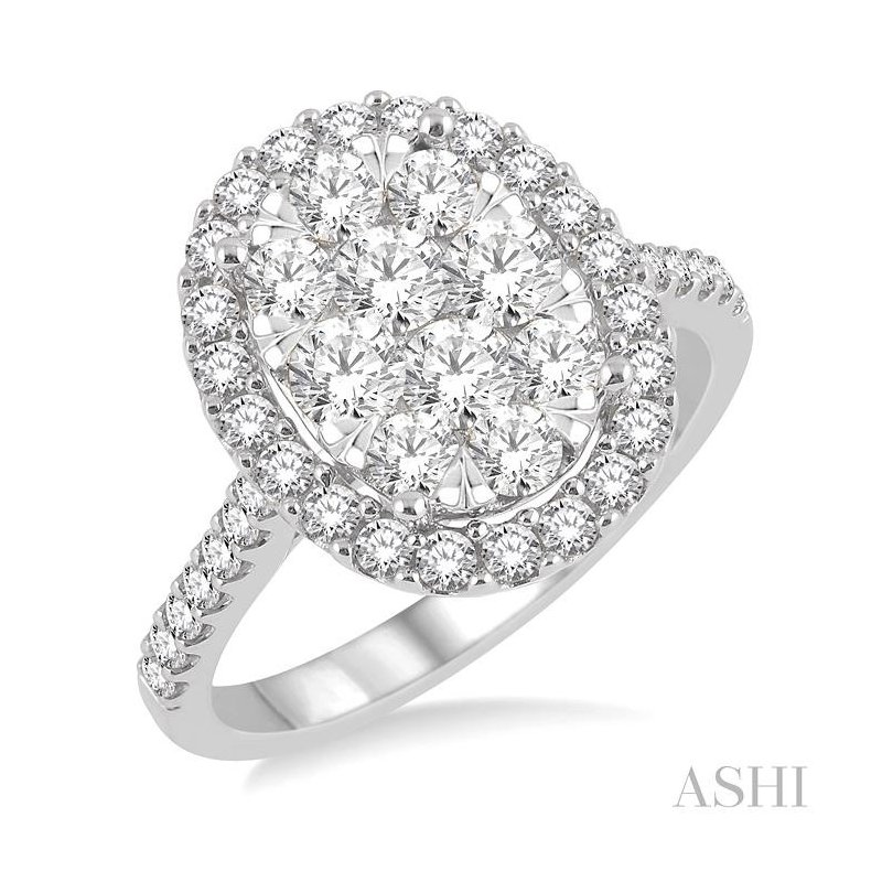 ASHI oval shape lovebright bridal diamond engagement ring