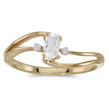 10k Yellow Gold Oval White Topaz And Diamond Wave Ring