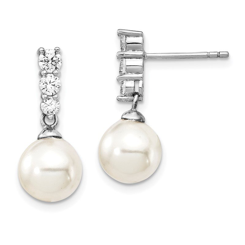 Quality Gold Sterling Silver Majestik Rh-plated 8-9mm Imitat Shell Pearl CZ Earrings