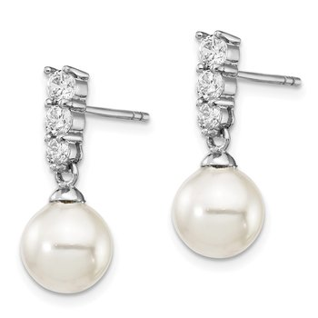 Sterling Silver Majestik Rh-plated 8-9mm Imitat Shell Pearl CZ Earrings