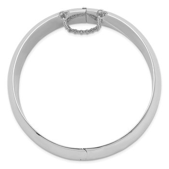 Sterling Silver Rhodium-plated 20mm Fancy Hinged Bangle Bracelet