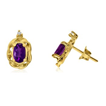 14k Yellow Gold Amethyst Scroll Diamond Earrings