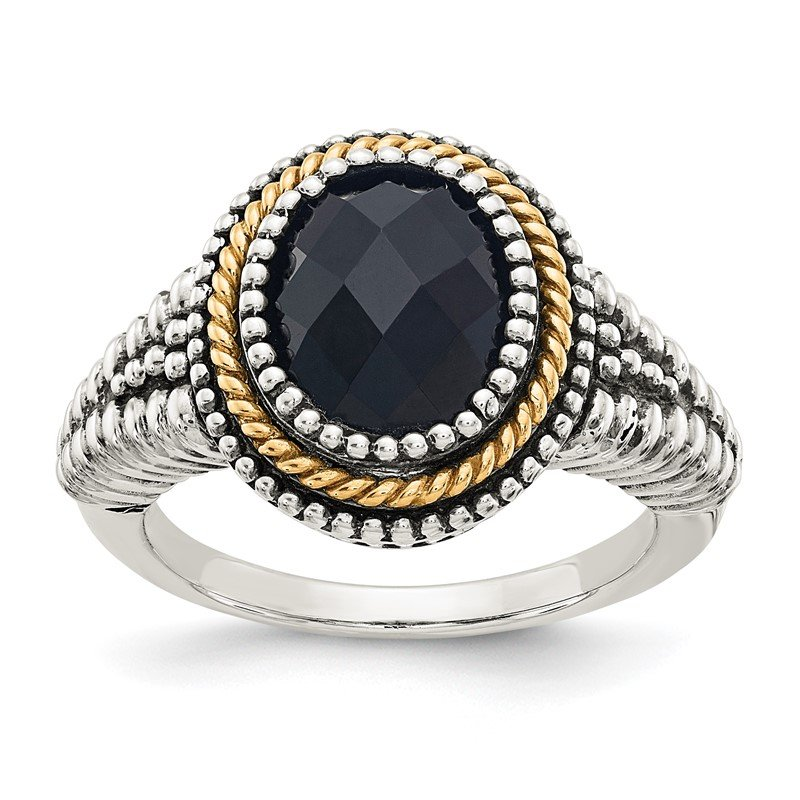 Quality Gold Sterling Silver w/14k Black Onyx Ring
