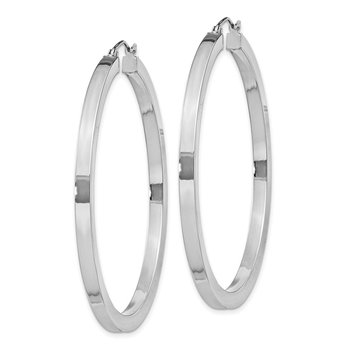 Sterling Silver Rhodium-plated 3x50mm Square Tube Hoop Earrings
