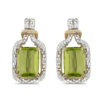 10k Yellow Gold Emerald-cut Peridot And Diamond Earrings