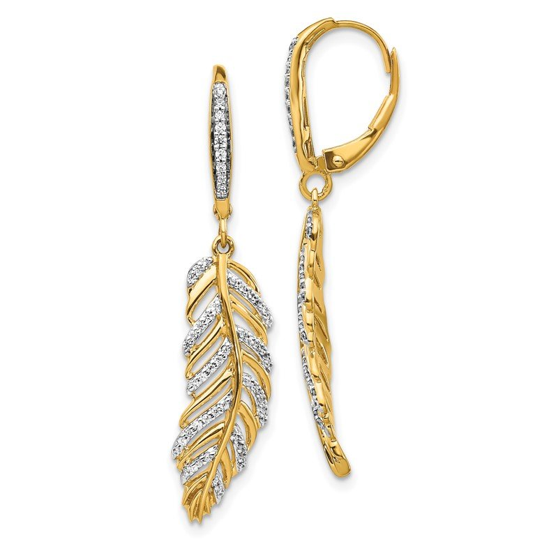 Quality Gold 14k Diamond Fancy Feather Leverback Earrings