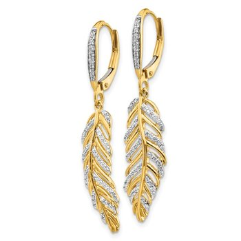 14k Diamond Fancy Feather Leverback Earrings