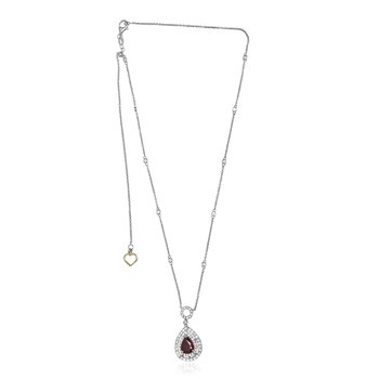 Pear-shaped Ruby Double Halo Necklace