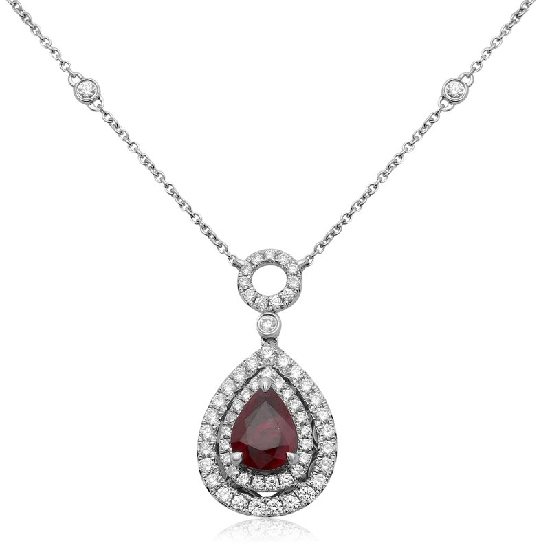 Roman & Jules Pear-shaped Ruby Double Halo Necklace