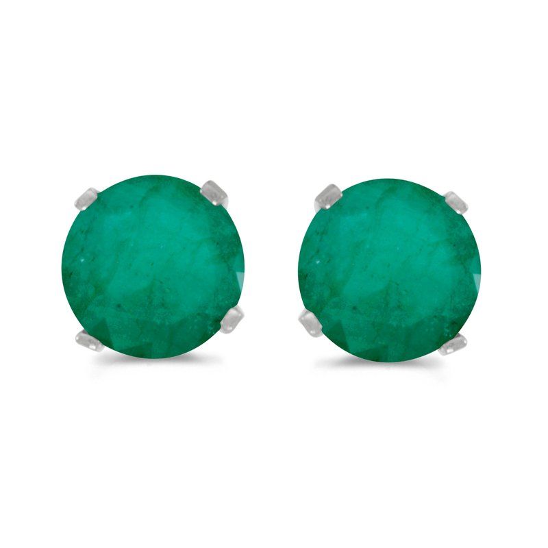 Color Merchants 5 mm Natural Round Emerald Stud Earrings Set in 14k White Gold