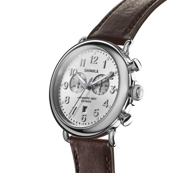 The Runwell Chrono 47mm Silver Dial Leather Strap Watch