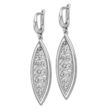 Leslie's Sterling Silver Polished and Brushed Crystal Earrings