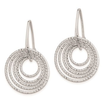 Sterling Silver Rhodium Plated D/C Circles Dangle Earrings