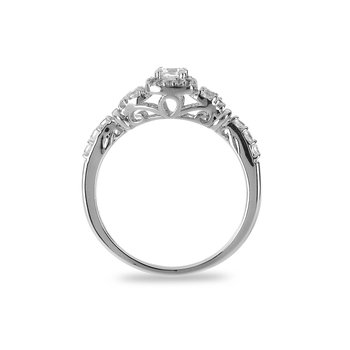 14K WG Diamond Square Halo Ring In Prong Setting