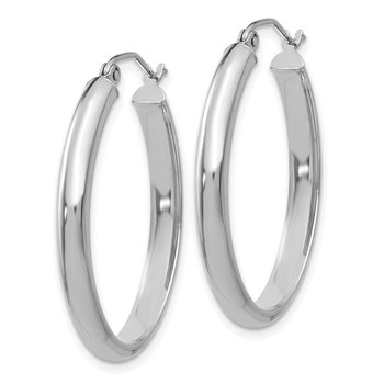 14k White Gold Polished 3.5mm Oval Hoop Earrings