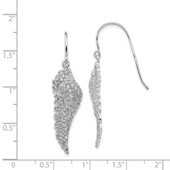Cheryl M SS Rhod-plated CZ Angel Wing Shepherd Hook Dangle Earrings