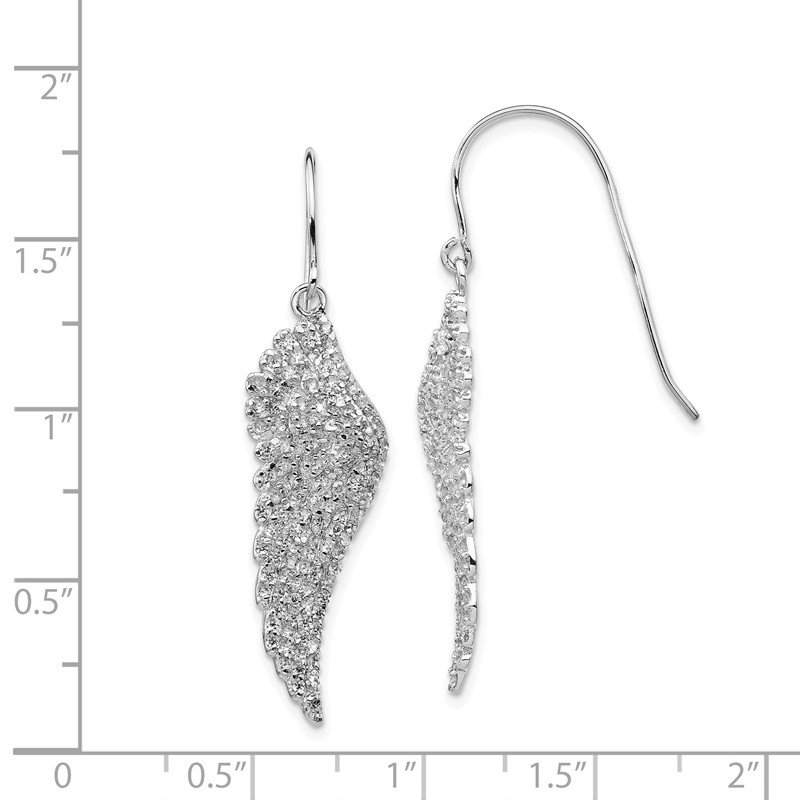 Cheryl M Cheryl M SS Rhod-plated CZ Angel Wing Shepherd Hook Dangle Earrings
