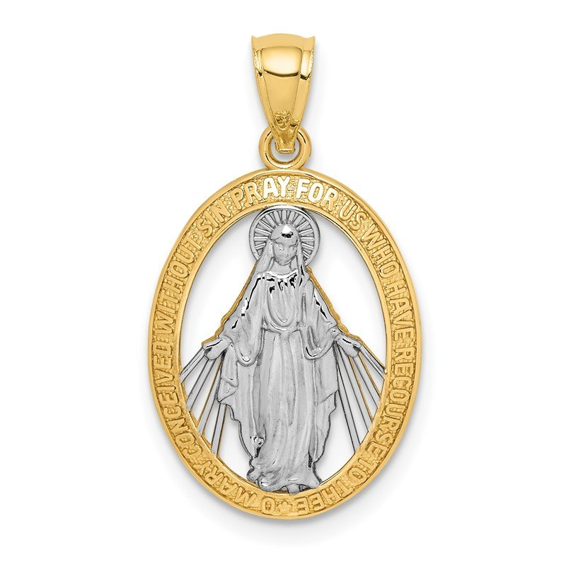 Quality Gold 14K White Rhodium Polished Miraculous Medal Pendant