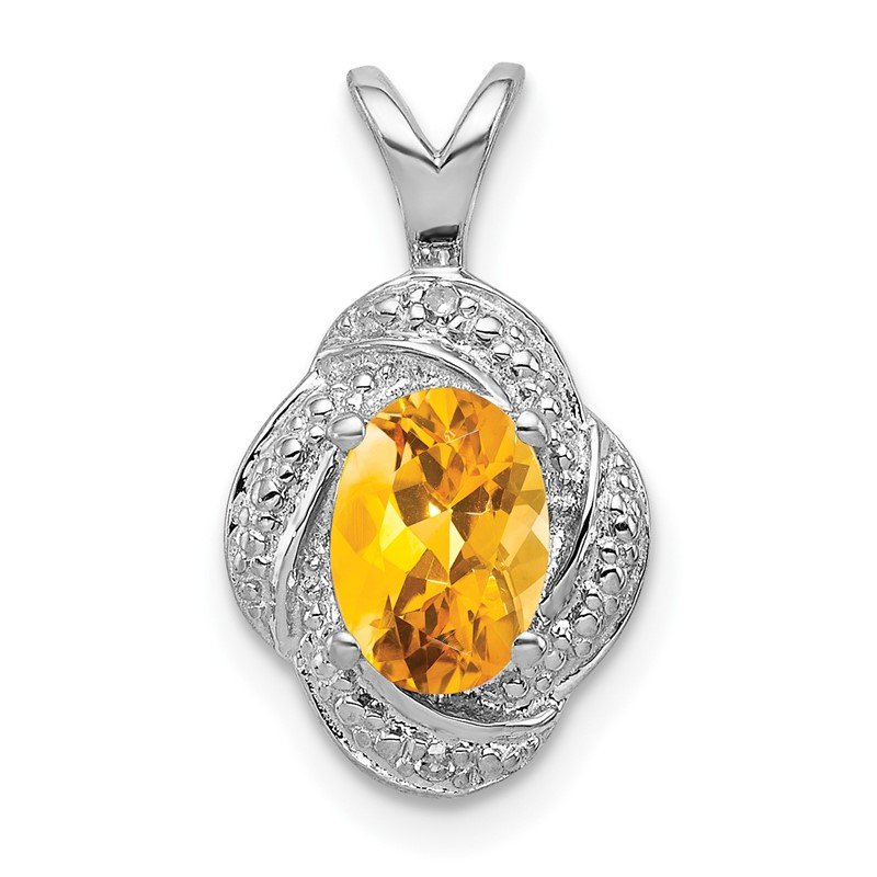 Quality Gold Sterling Silver Rhodium-plated Diam. & Citrine Pendant
