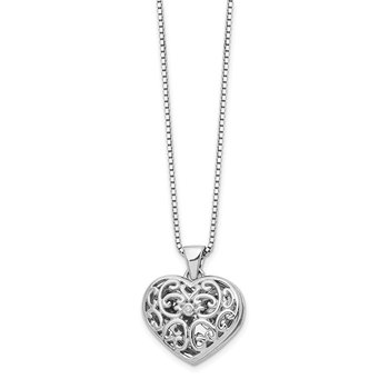 SS White Ice .01ct Diamond Heart Locket Necklace