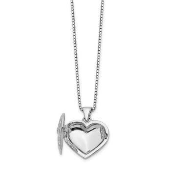 Sterling Silver White Ice .01ct Diamond Heart Locket w/ 2in ext Necklace