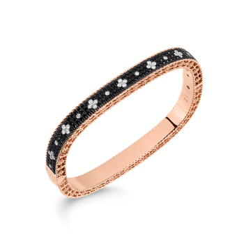 Slim Bangle With Black And White Fleur De Lis Diamonds &Ndash; 18K Rose Gold