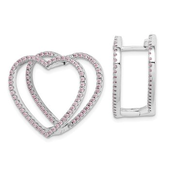 Sterling Silver Rhodium-plated Pink CZ Heart Hinged In/Out Earrings