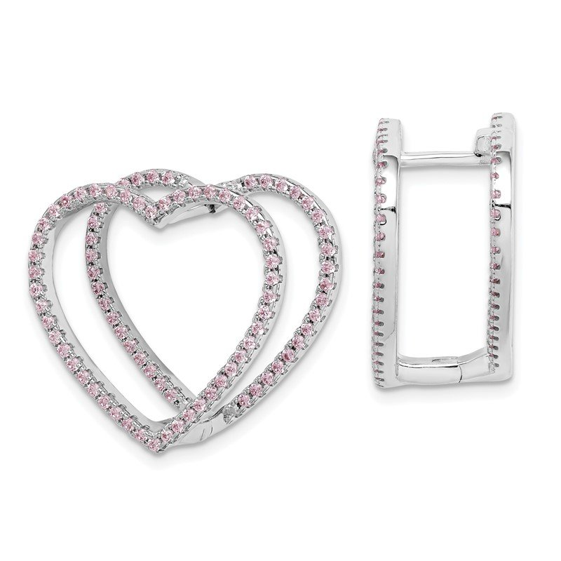 Quality Gold Sterling Silver Rhodium-plated Pink CZ Heart Hinged In/Out Earrings