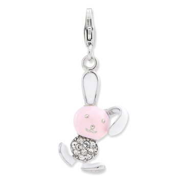 Sterling Silver Enameled 3-D Bunny w/Lobster Clasp Charm