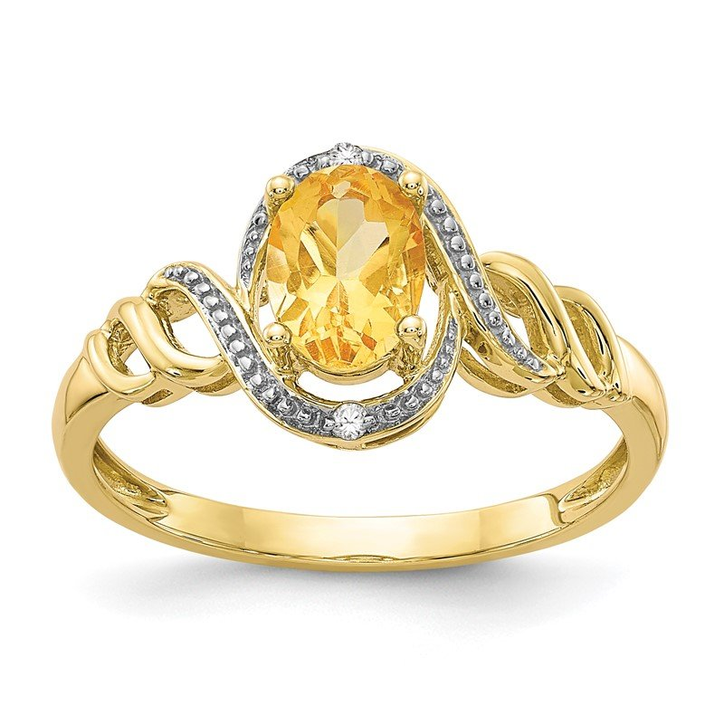 Quality Gold 10K Citrine and Diamond Ring