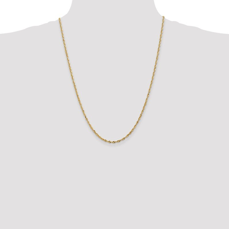 Quality Gold 14k 2.5mm Extra-Light D/C Rope Chain Anklet