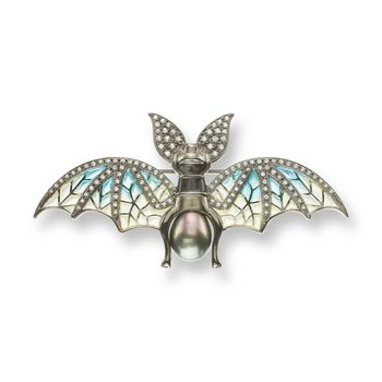 Blue Bat Brooch-Pendant.Black Rhoidum Plated Sterling Silver-White Sapphires Tahitian Pearl and Rubies - Plique-a-Jour