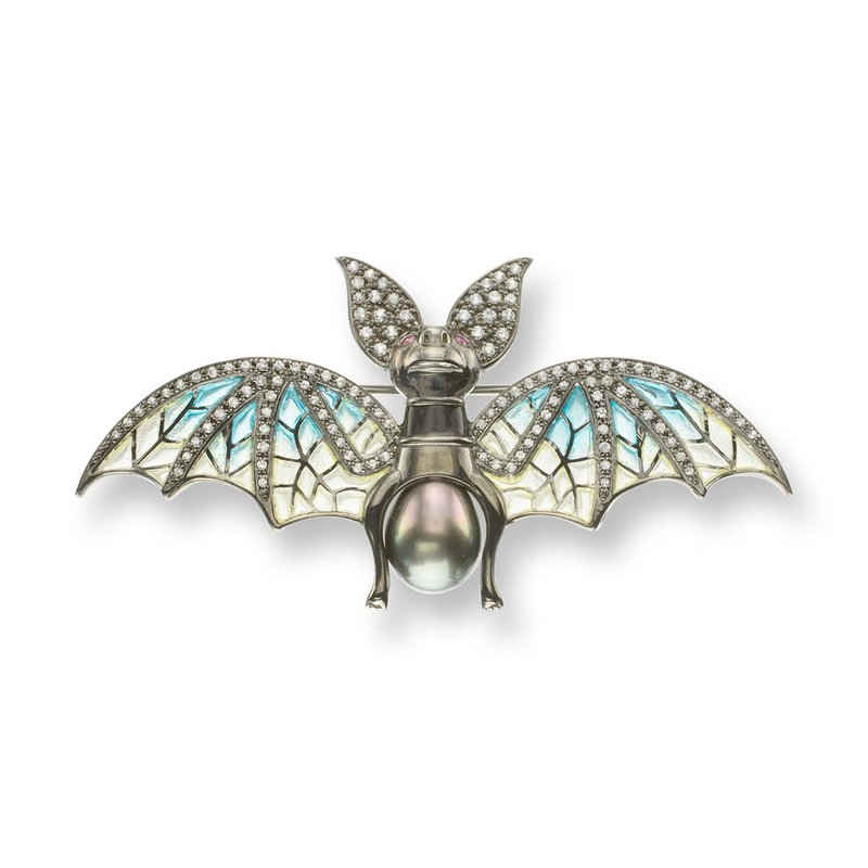 Nicole Barr Designs Blue Bat Brooch-Pendant.Black Rhoidum Plated Sterling Silver-White Sapphires Tahitian Pearl and Rubies - Plique-a-Jour
