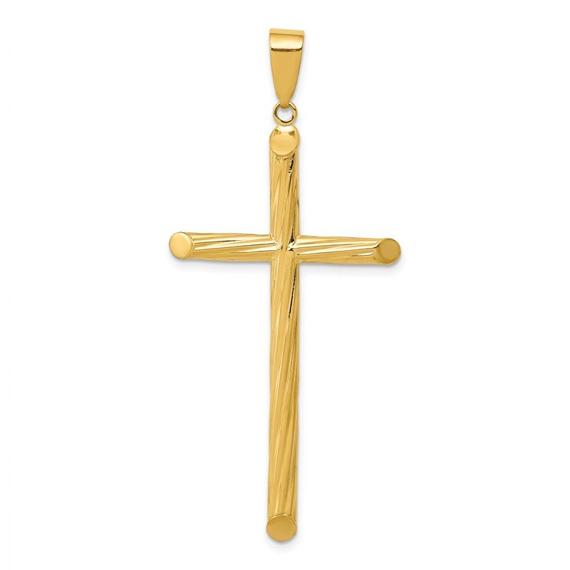 Quality Gold 14k Fancy Textured Cross Pendant