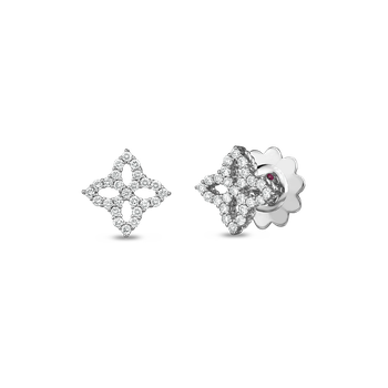 18Kt Diamond Outline Small Flower Stud Earring