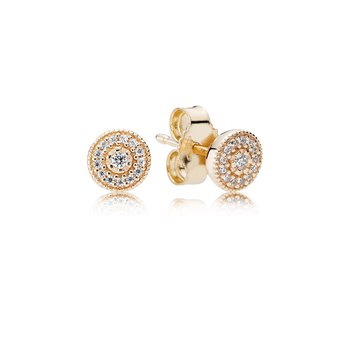 Radiant Elegance Stud Earrings, 14K Gold Clear Cz
