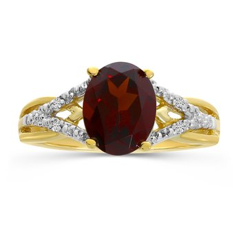 10k Yellow Gold Oval Garnet And Diamond Ring